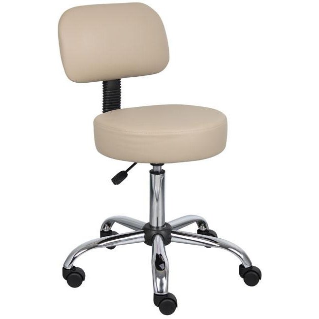 Beige Drafting Office Chair With Back