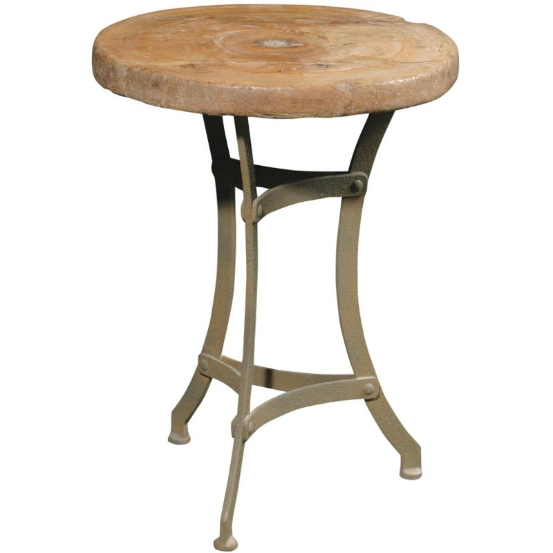 Recycled Wood Tripod Accent Table With Metal Legs