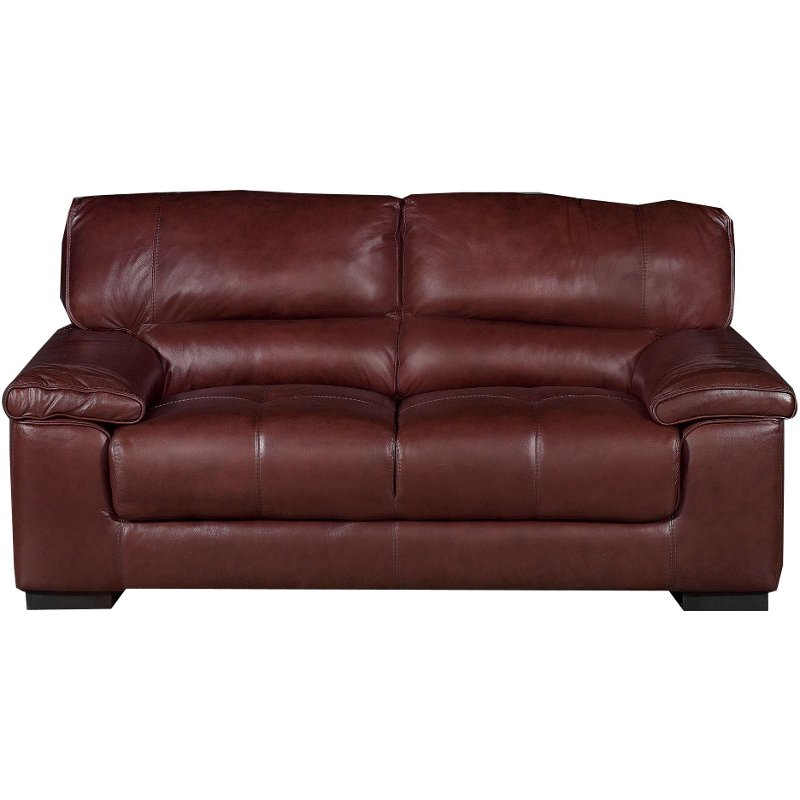 Willey Furniture: Contemporary Brown Leather Loveseat - Milan