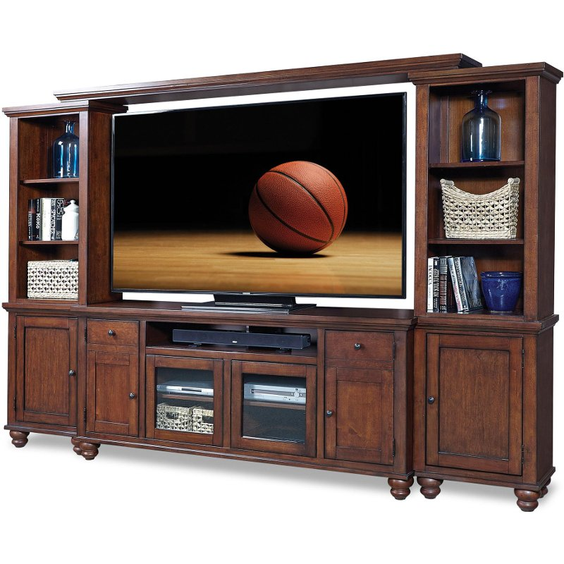 Rc Willey Outlet Center Now Closed: 4 Piece Cherry Brown Entertainment Center - Cambridge
