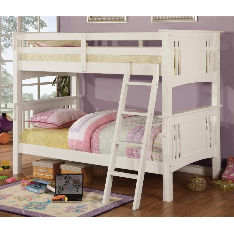 Rc Willey Kids Beds: Miami White Twin-over-Twin Bunk Bed