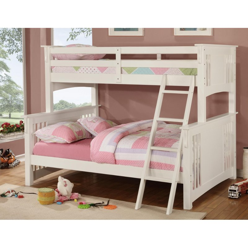 Miami White Twin Over Full Bunk Bed