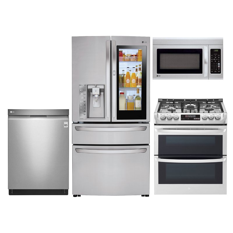 Lg 4 Piece Gas Kitchen Appliance Package With 30 Cu Ft French Door