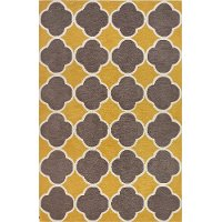 5 X 8 Medium Transitional Yellow Amp Brown Area Rug