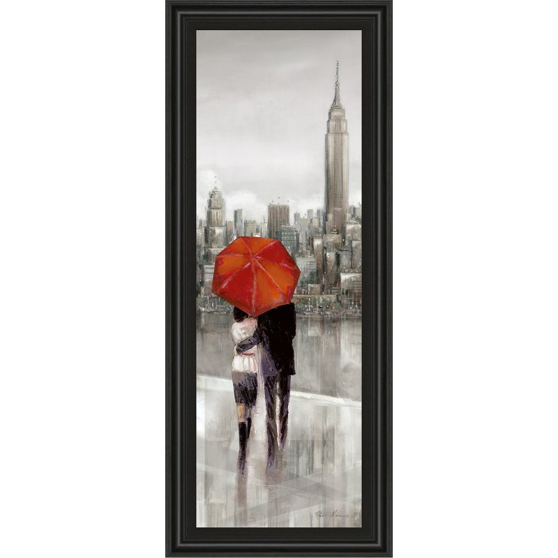 New York Stroll Red Umbrella Framed Wall Art | RC Willey Furniture Store