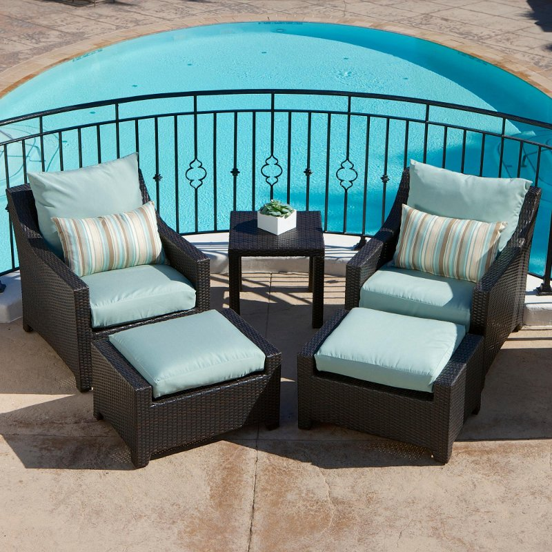 Wicker 5 Piece Outdoor Patio Furniture Set   Deco | RC Willey Furniture  Store