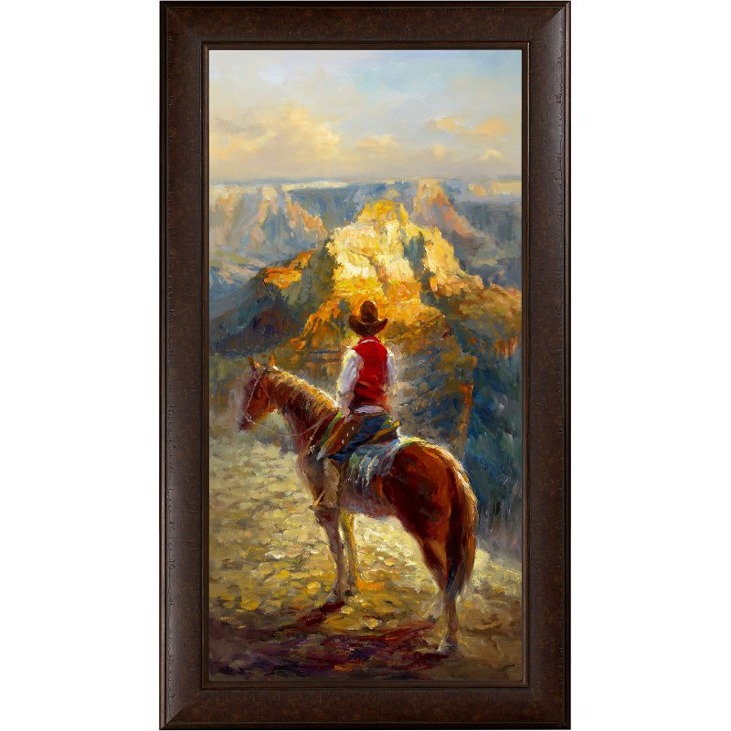 Canyon View with Horse and Cowboy Framed Wall Art | RC Willey ...