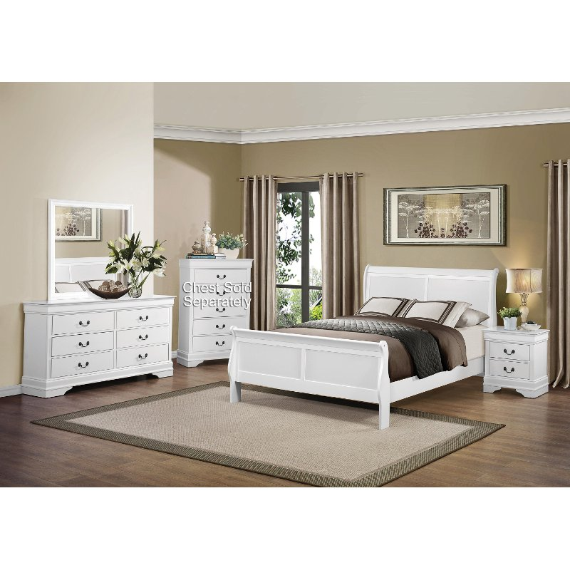 Mayville white 6 piece full bedroom set for Full bedroom furniture sets