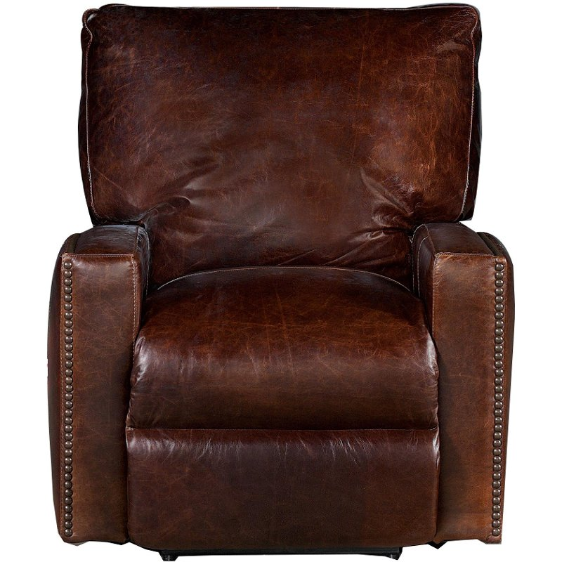 Antique 44 Brown Leather Power Recliner