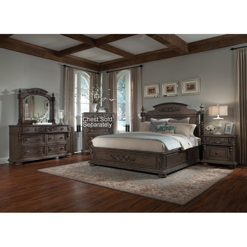 Versailles pewter brown 6 piece cal king bedroom set for King bedroom sets