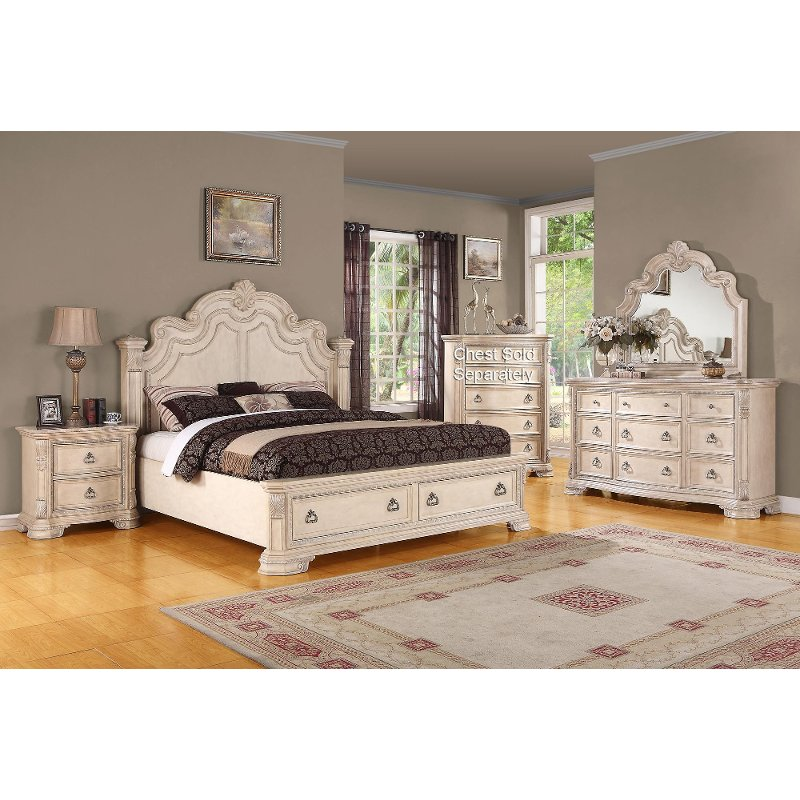 riviera alabaster 6 piece king bedroom set
