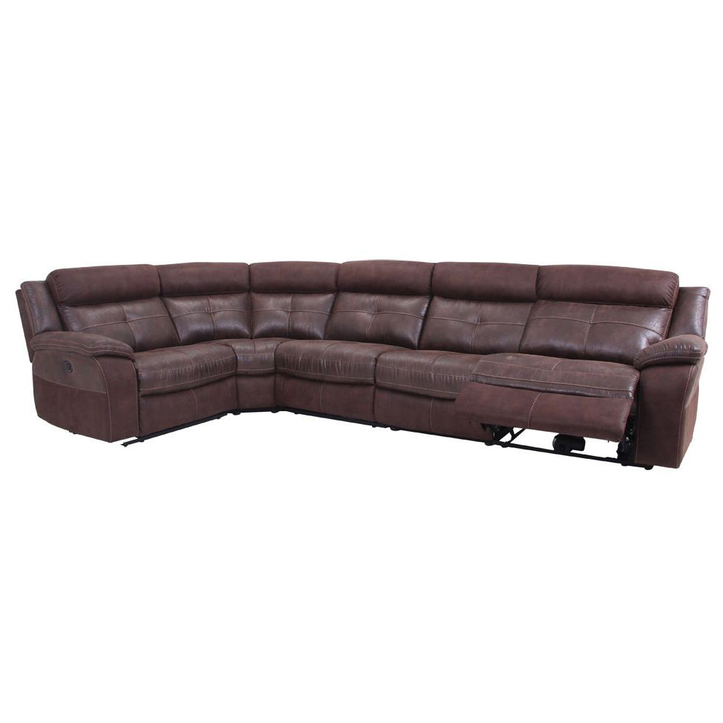 Brown 5 Piece 3x Manual Reclining Sectional Sofa Denver