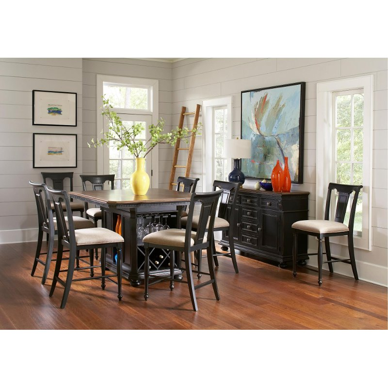 Arcadia Black 5 Piece Counter Height Island Dining Set