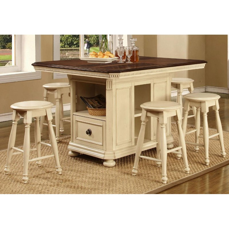 Arcadia bisque 5 piece counter height island dining set for Breakfast island set