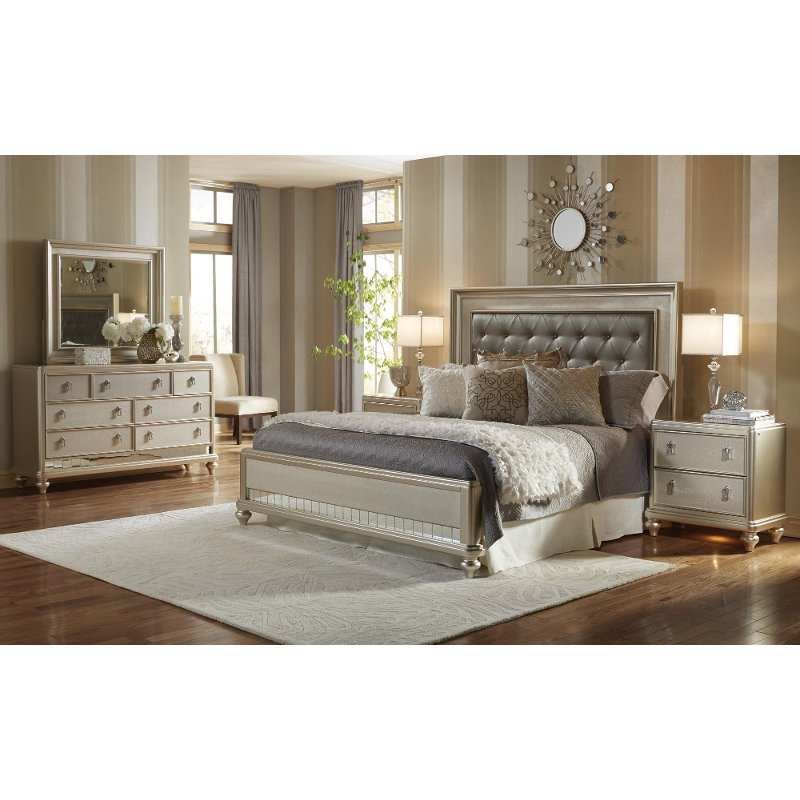 Diva Champagne 6 Piece Cal King Bedroom Set