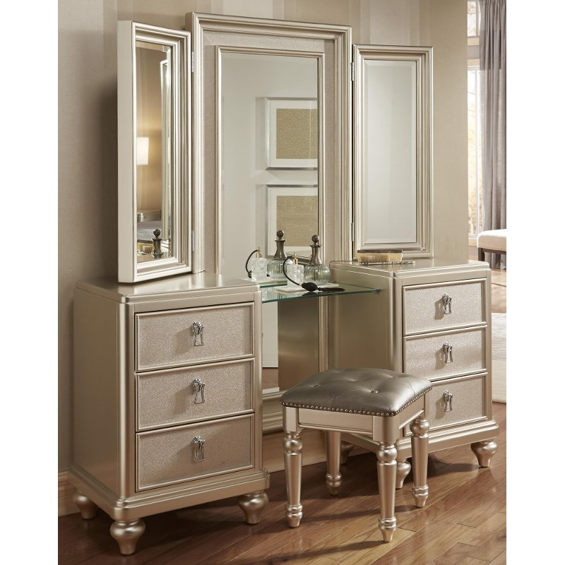 Traditional Champagne Vanity, Mirror U0026 Stool   Diva