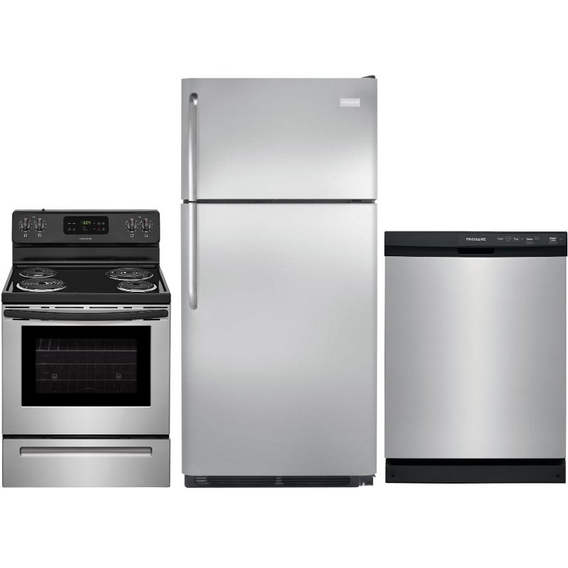Frigidaire 3 Piece Electric Kitchen Appliance Package With 18 Cu Ft Refrigerator Stainless Steel Rc Willey