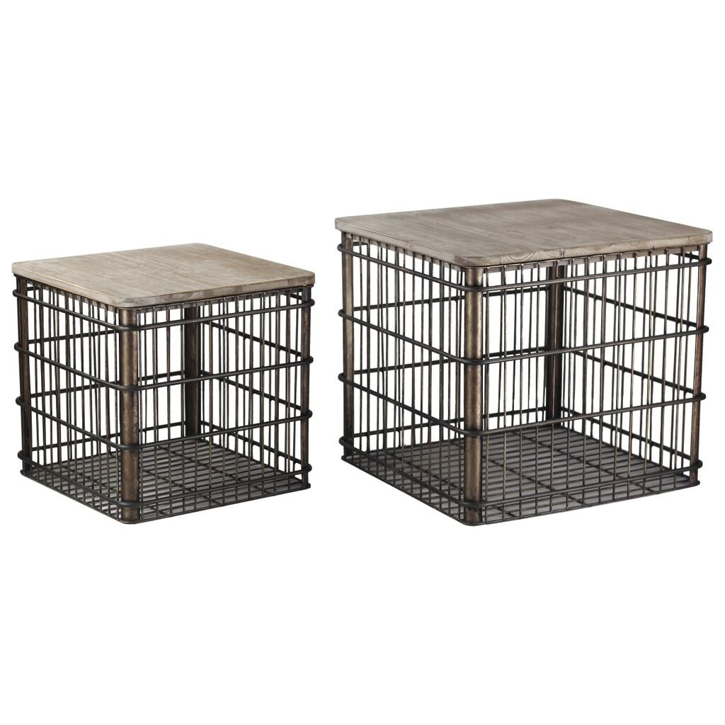 Home Accent Stores: 16 Inch Metal Basket Accent Table With Lid