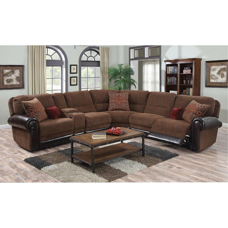Auburn Brown 4 Piece Power Reclining Sectional Sofa - William | RC ...