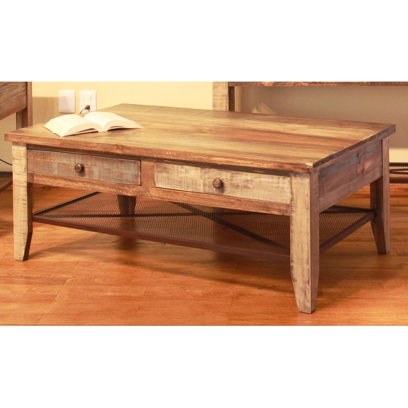 Pine Two Tone Wood Coffee Table Tanmeron