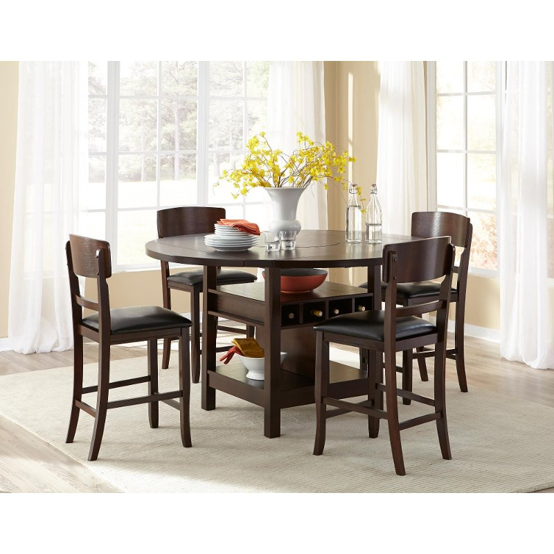 Hampton dark walnut 5 piece counter height dining set for Breakfast table and chairs set