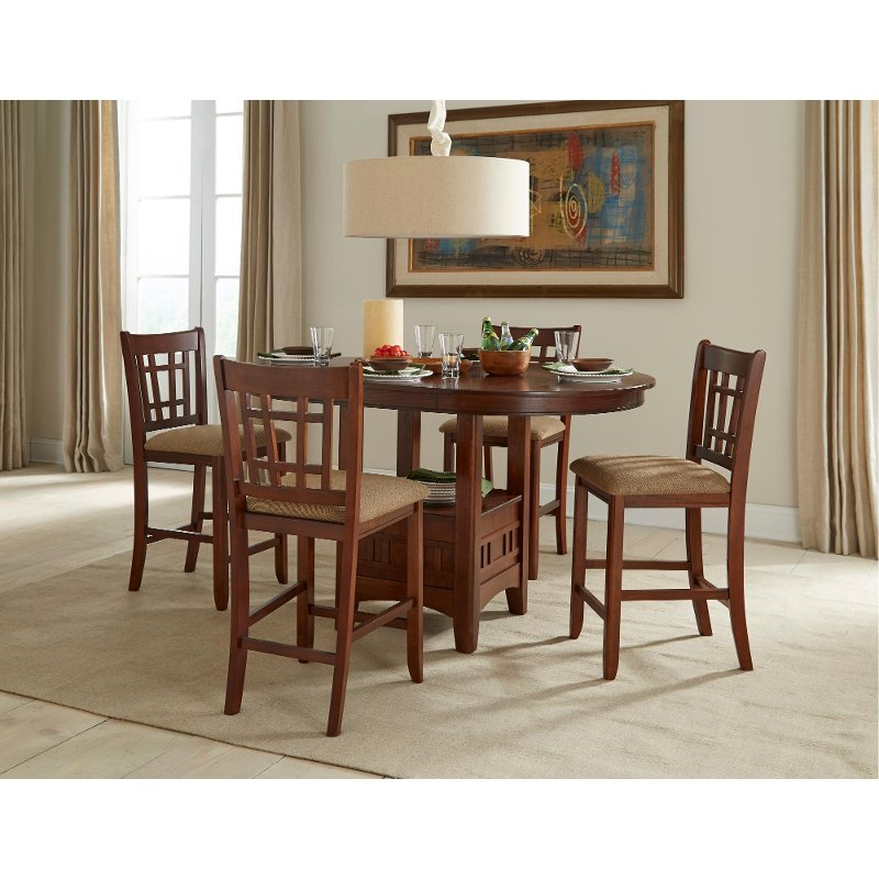Attrayant 5 Piece Dark Counter Height Dining Set   Mission