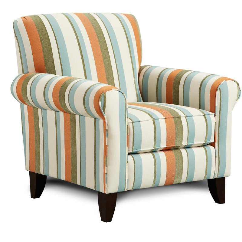 Tangerine 37 striped upholstered accent chair for Striped chairs living room