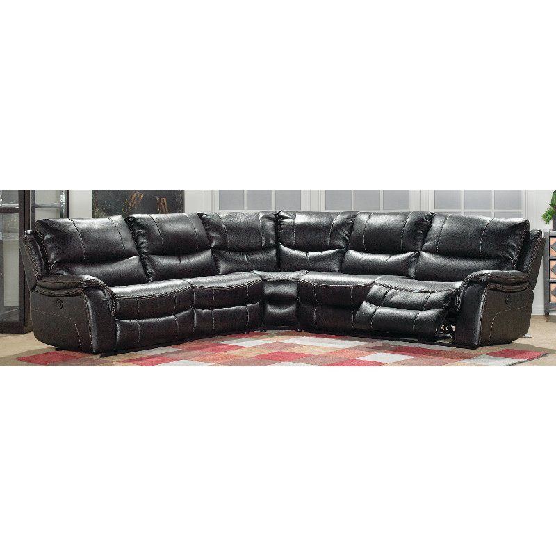 Black Upholstered 5-Piece Reclining Sectional