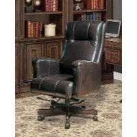 Top grain leather executive office chair rc willey for Home office chairs leather