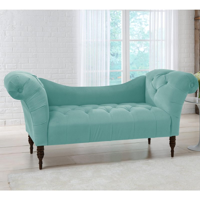 skyline furniture blue velvet chaise lounge