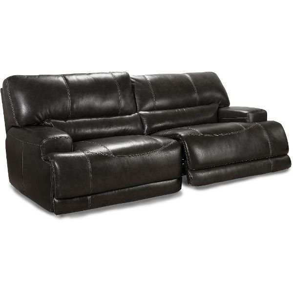 Charcoal Leather Match Reclining Sofa Stampede