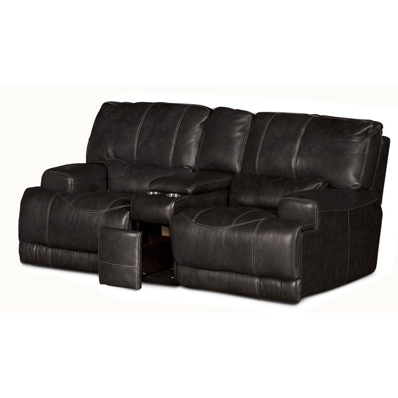 Charcoal Leather Match Power Reclining Loveseat Stampede Rc