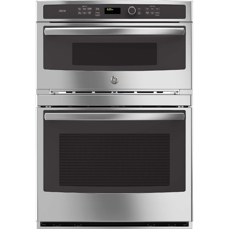 GE Profile 30 Inch Convection Combination Wall Oven with Microwave on