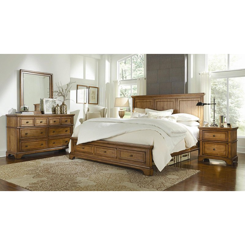 alder creek butterscotch 6 piece queen bedroom set