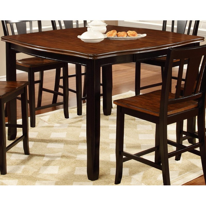 Dover black cherry counter height dining table for Black dining room furniture