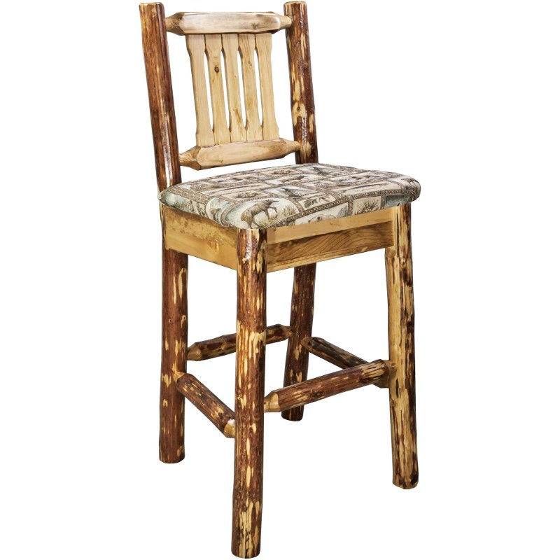 Bar Stool With Back Wildlife Pattern 30 Inch Glacier Country