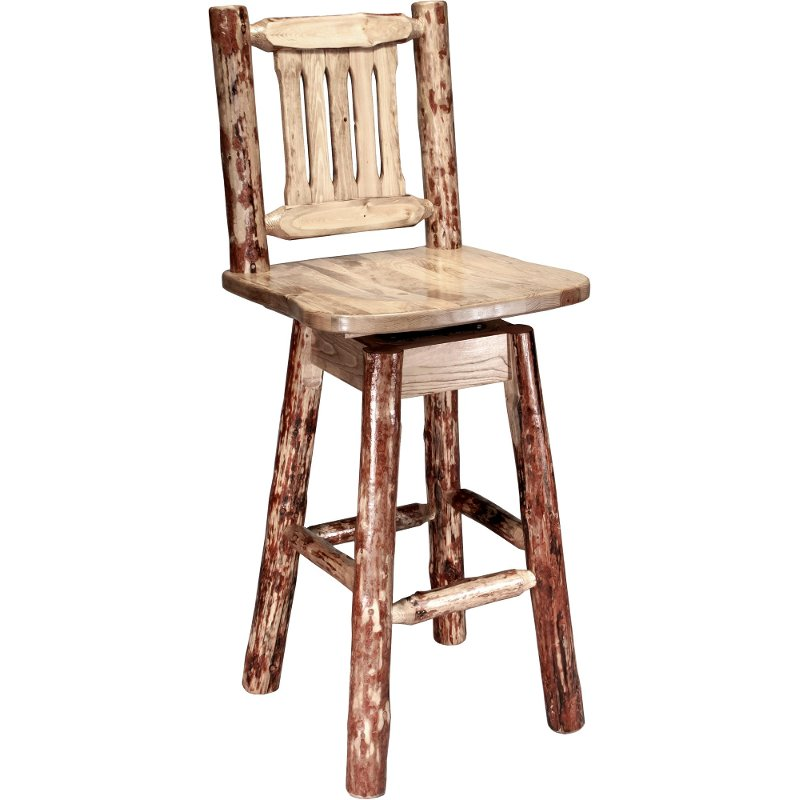Bar Stool With Back And Swivel 30 Inch Glacier Country Rc