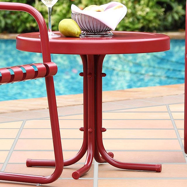 Rc Willey Hours: Metal Red Outdoor Patio Side Table - Retro