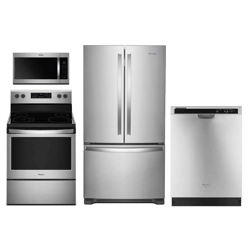 Whirlpool 4 Piece Electric Kitchen Appliance Package with French Door  Refrigerator - Stainless Steel