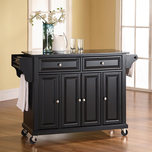 Black 52 Inch Kitchen Cart With Black Granite Top