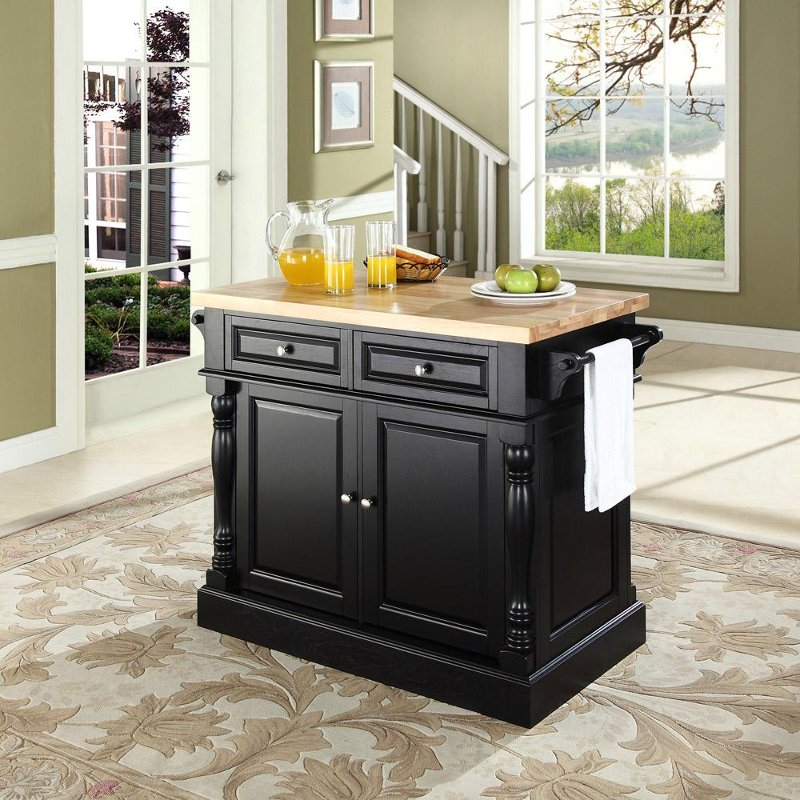 Black Butcher Block Top Kitchen Island Oxford Rc Willey Furniture Store