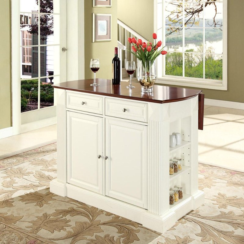 KF30007WH White Drop Leaf Breakfast Bar Top Kitchen Island   Coventry