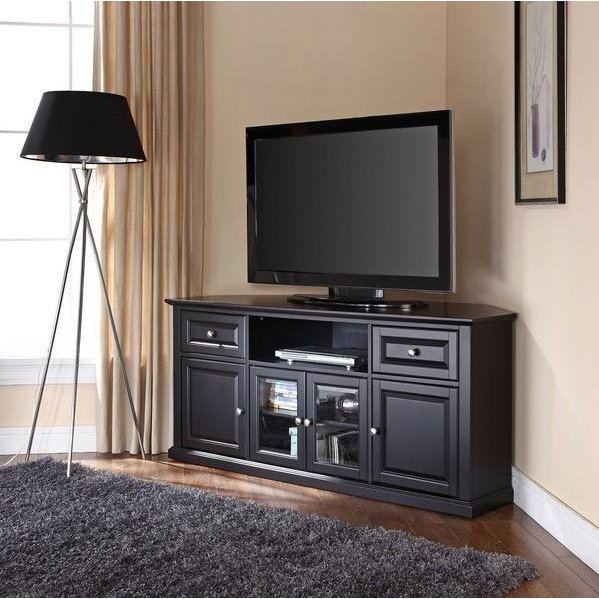 black 60 inch corner tv stand rc willey furniture store - Corner Flat Panel Tv Stands