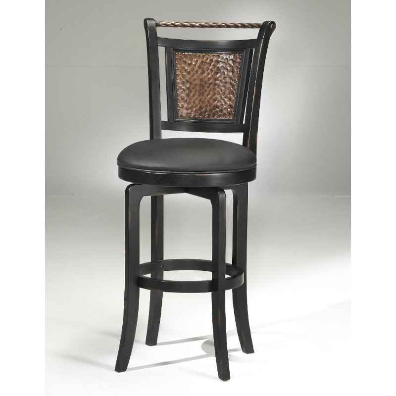 Copper Metal Back Black Wood Frame Swivel Bar Stool Norwood Rc Willey Furniture Store