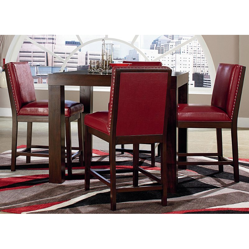 couture chocolate red 5 piece counter height dining set