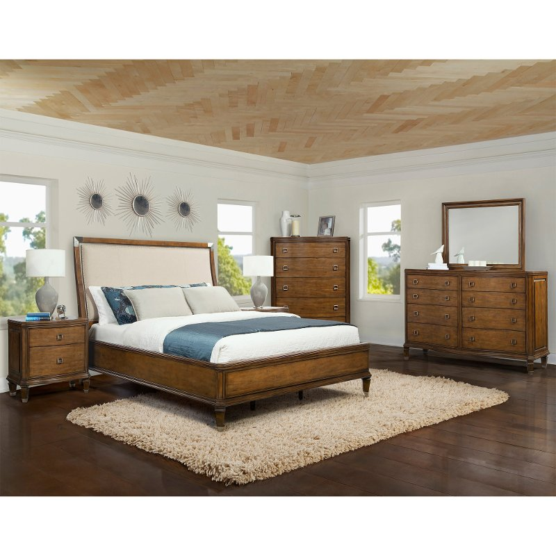 boutique pearwood 6 piece queen bedroom set