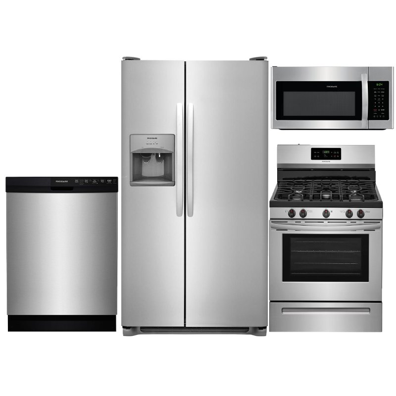 Frigidaire 4 Piece Gas Kitchen Appliance Package with Side by Side  Refrigerator - Stainless Steel