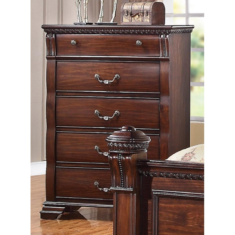 Traditional Dark Pine Chest Of Drawers - Isabella