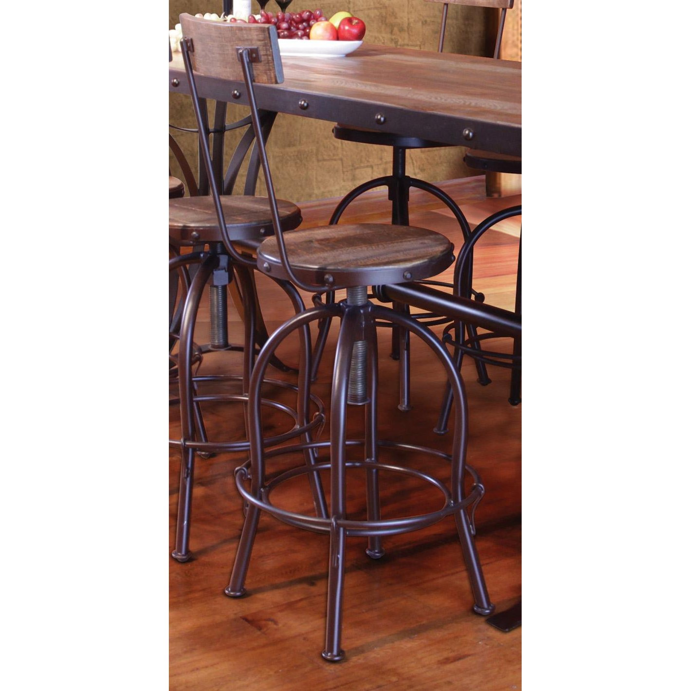 Antique Pine Amp Metal Adjustable Stool With Back Rc
