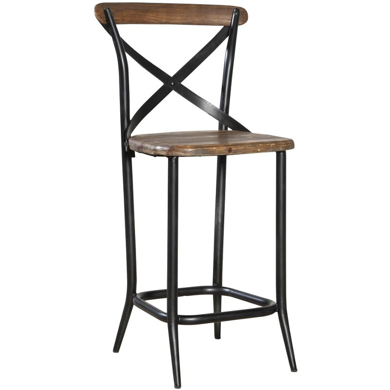 Metal Amp Wood 24 Inch Counter Stool Rc Willey Furniture Store